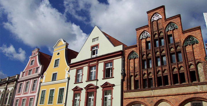 Colourful gabled houses in Stralsund