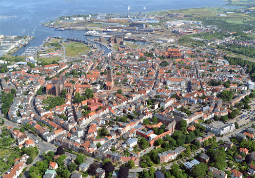 Aerial view of the Historic Centre of Wismar